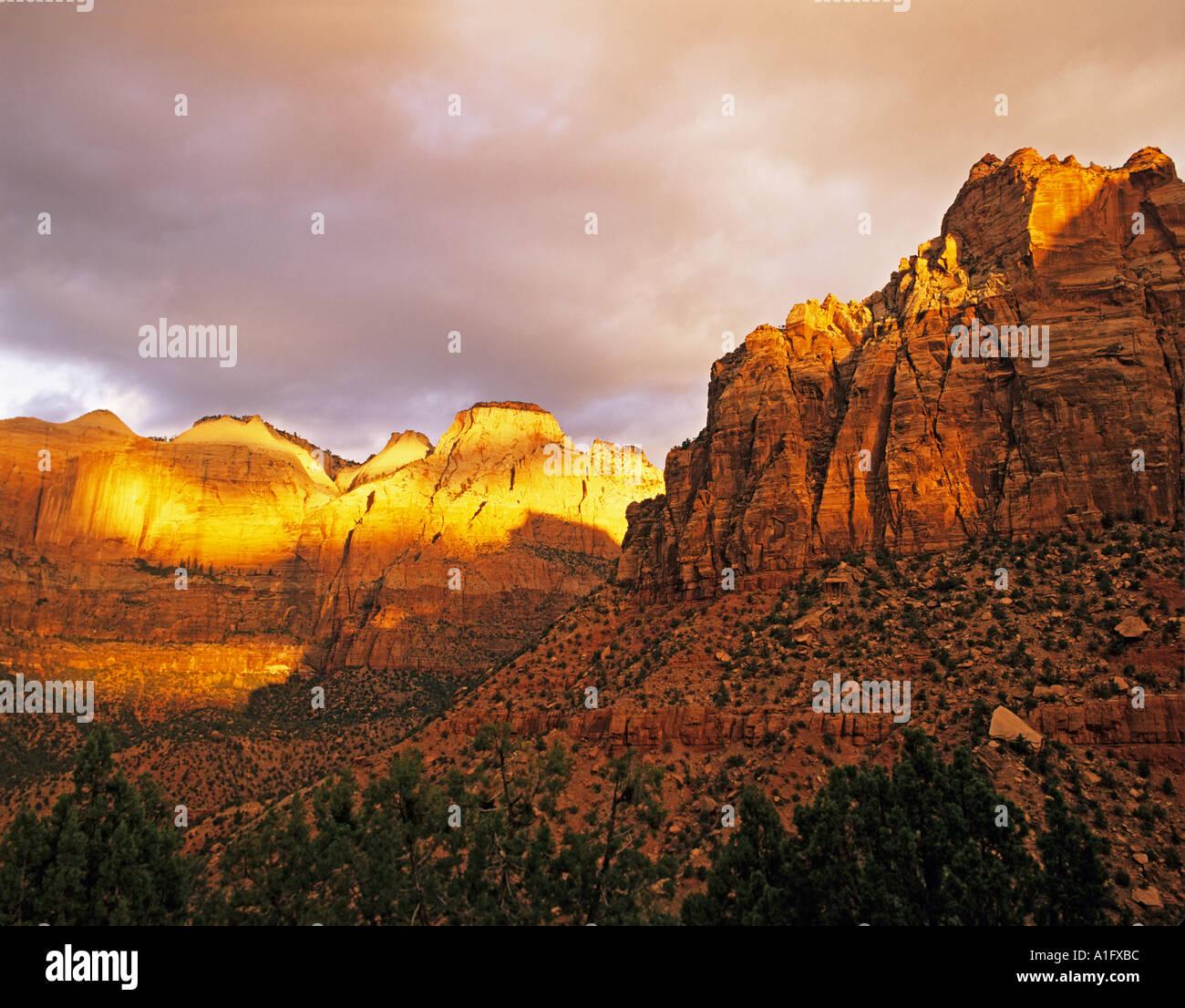 Zion Natiuonal Park sunrise AZ - Stock Image