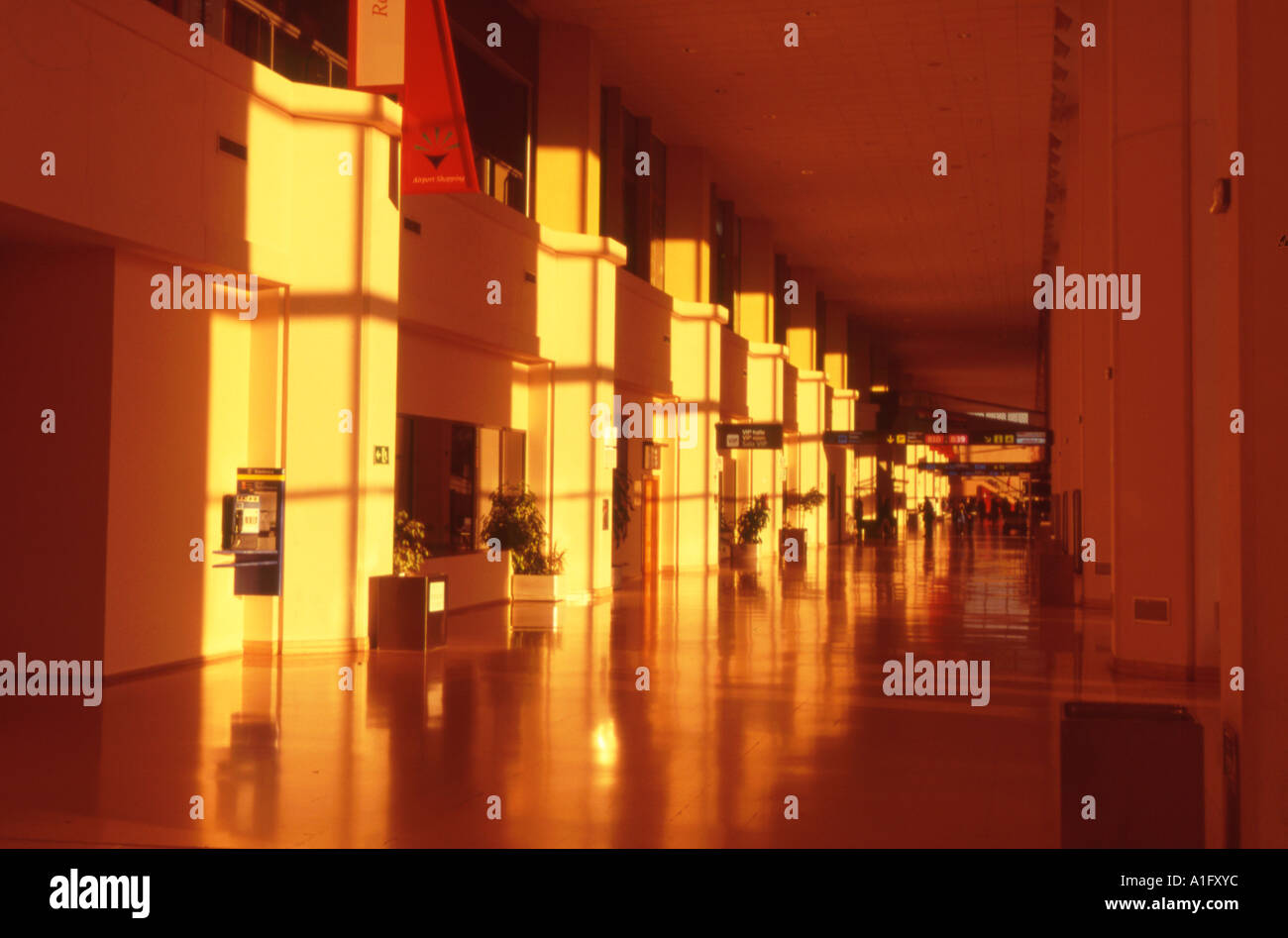 Malaga airport beyond customs and check in - Stock Image