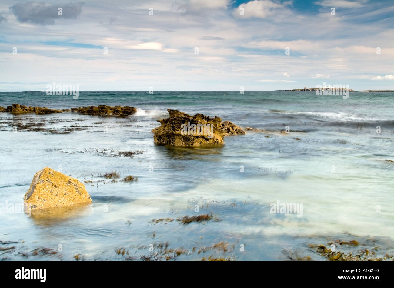 A tranquil seascape to Inner Farne island Stock Photo