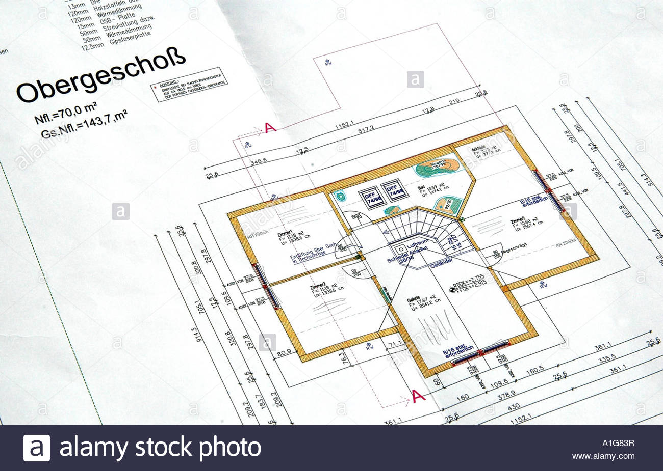 High Quality Grundriss Eines Hauses Hausplan Floor Plan Of A House   Stock Image