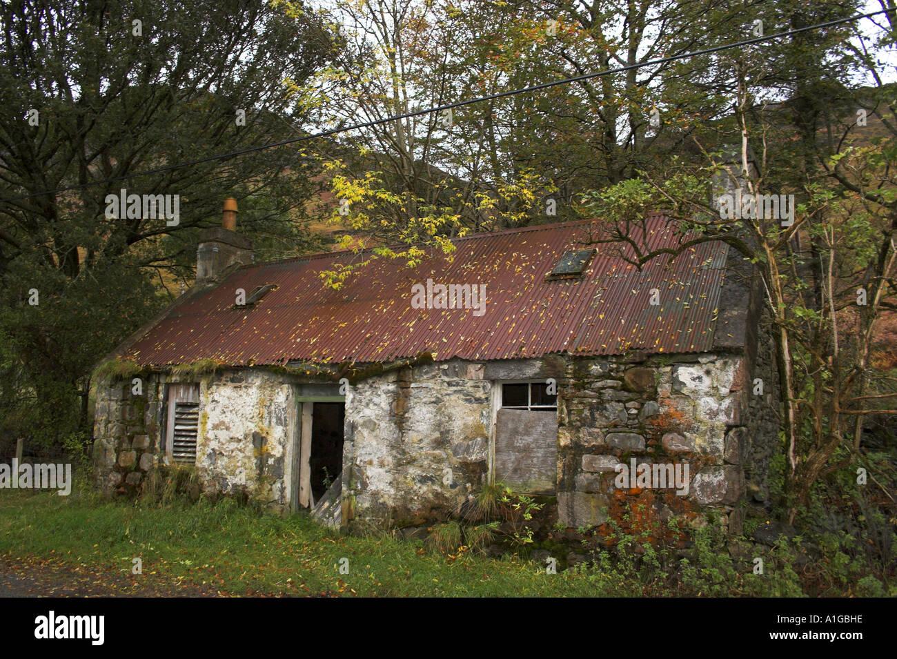 derelict croft cottage in scottish highlandsStock Photo