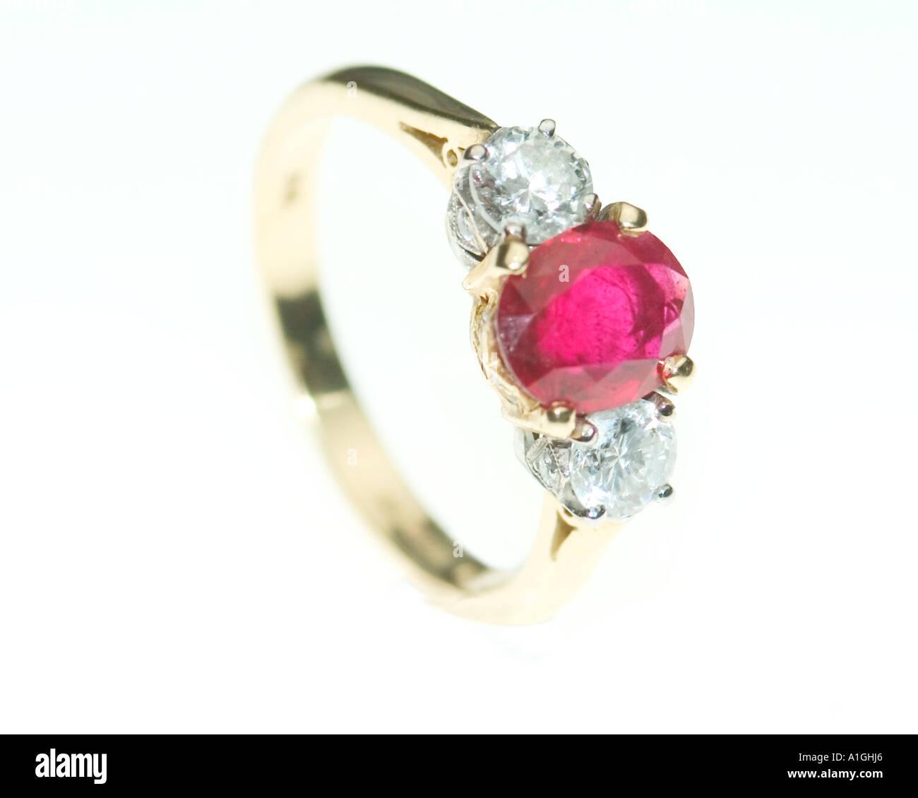 ruby and diamond wedding ring - Stock Image