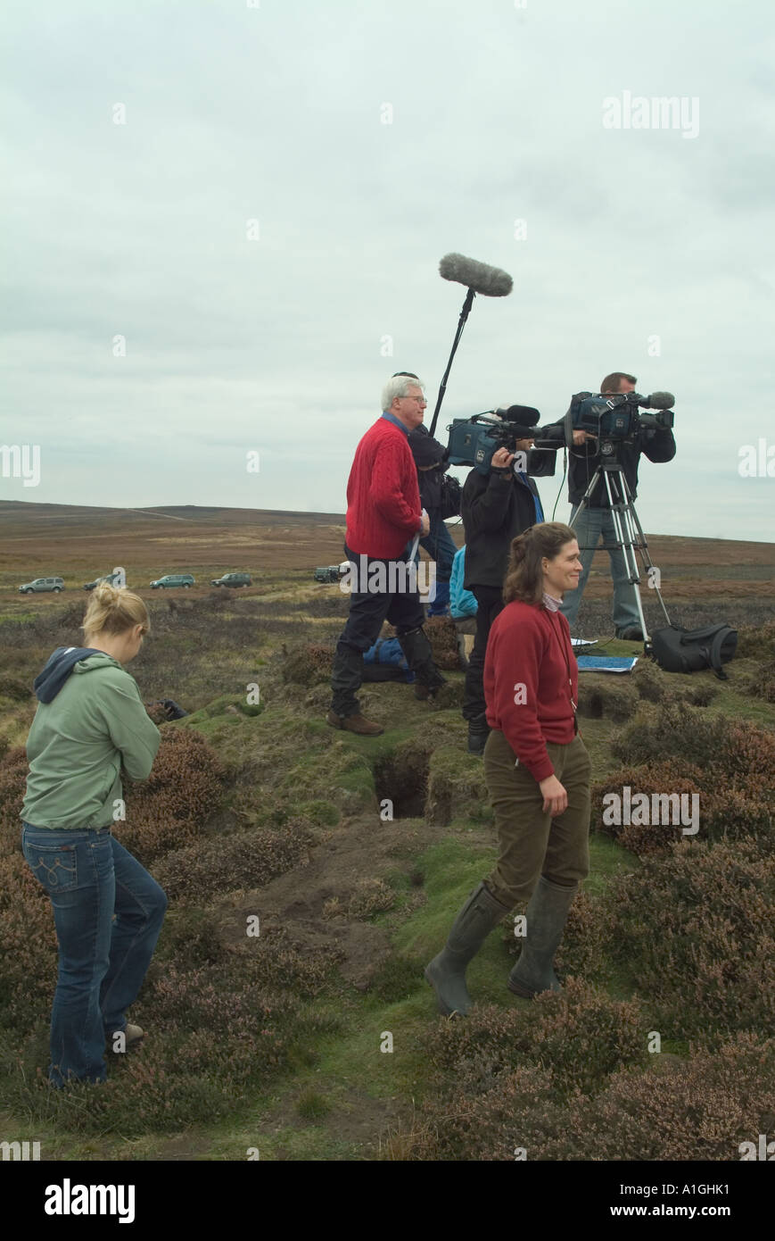Filming a piece for the British Magazine Program Countryfile on location on the North Yorkshire Moors - Stock Image
