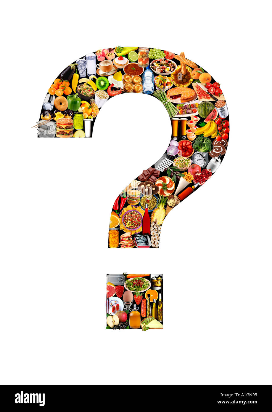 FOODFONT QUESTION MARK ON WHITE - Stock Image