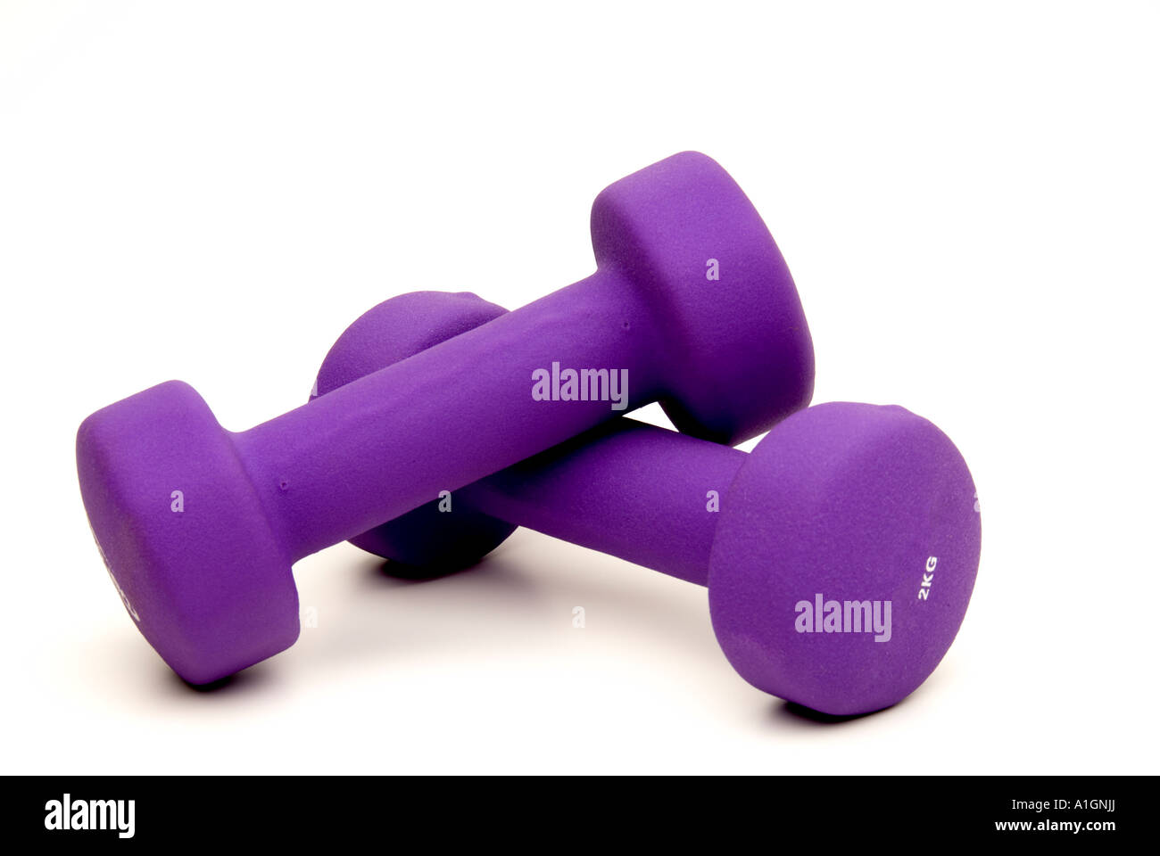Foam covered exercising weights on white background. - Stock Image