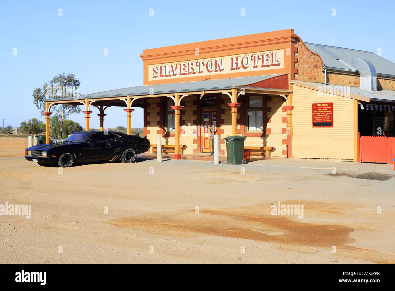 Historic Silverton Hotel With Black Car Used In Mad Max Movie Stock