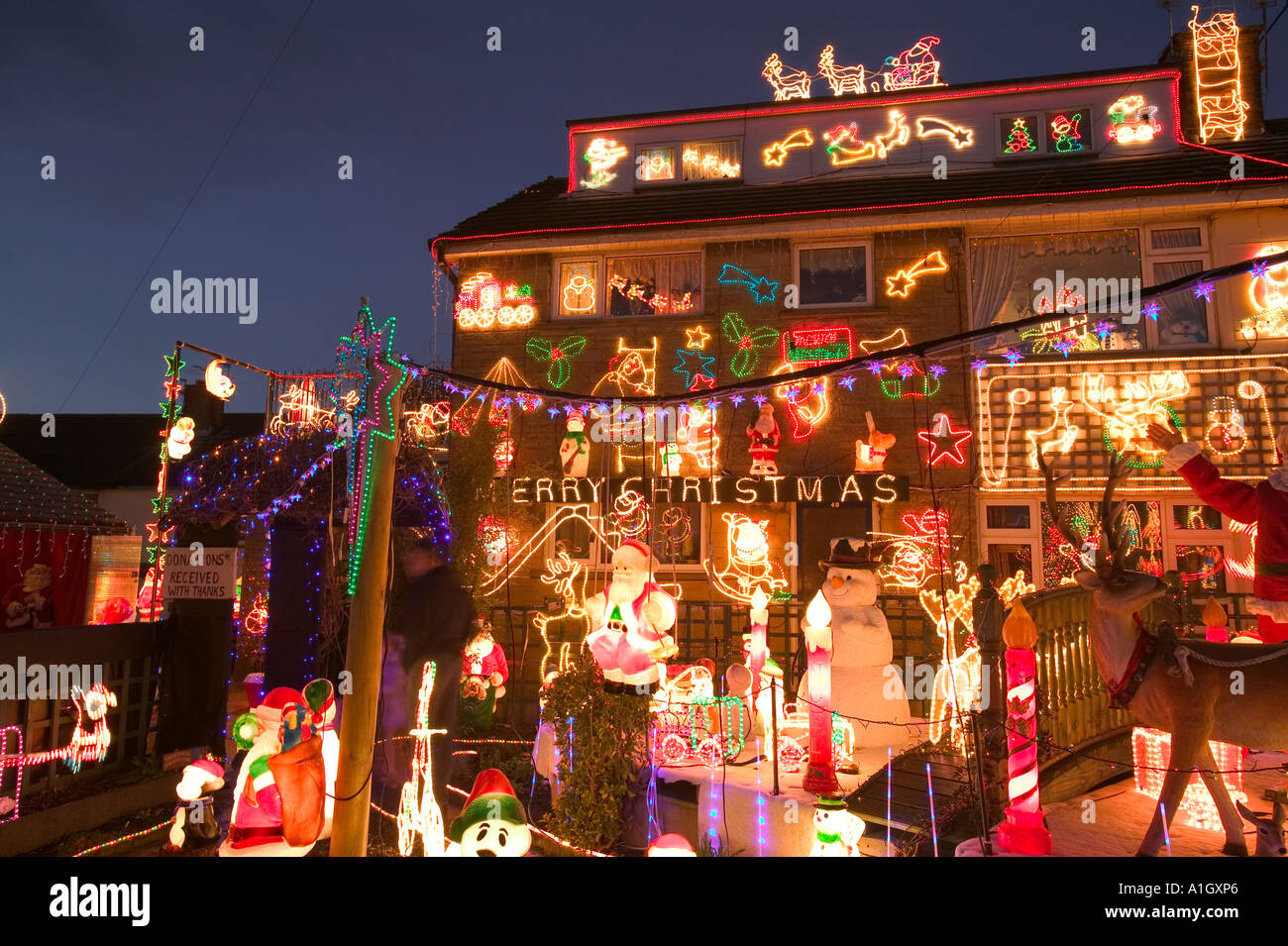 over the top christmas decorations on a house in clitheroe lancashire uk stock - Best Christmas Decorations Uk