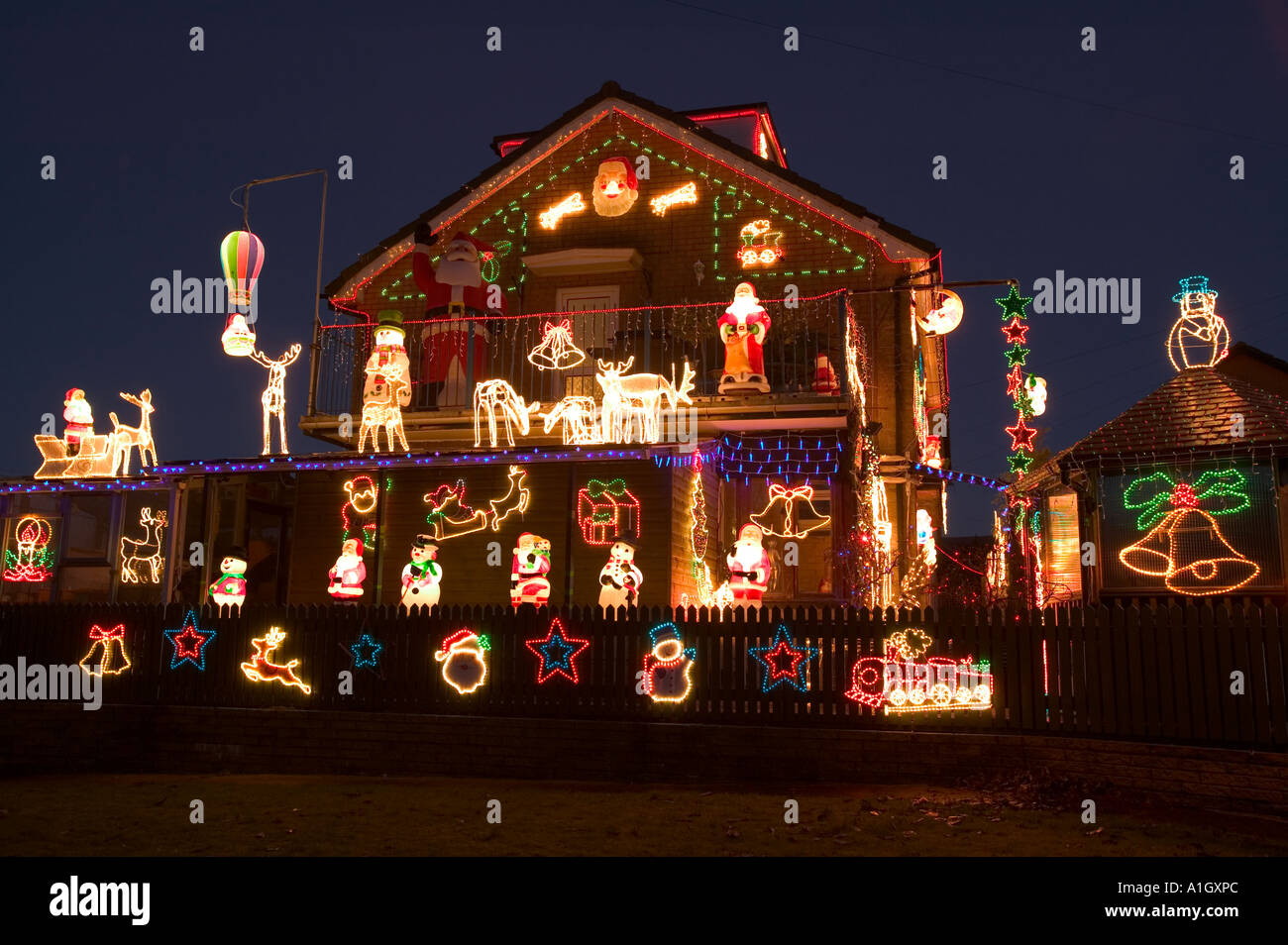over the top christmas decorations on a house in clitheroe lancashire uk stock - Over The Top Christmas Decorations