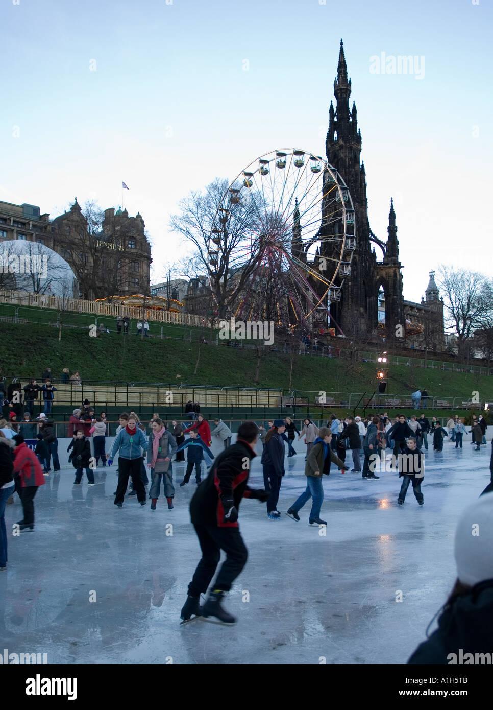 Outdoors ice rink in city centre, Edinburgh, Scotland Stock Photo