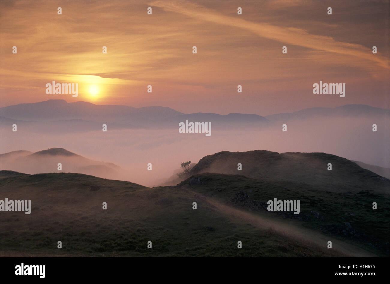 Dawn from Blea Tarn Hill Eskdale Cumbria - Stock Image