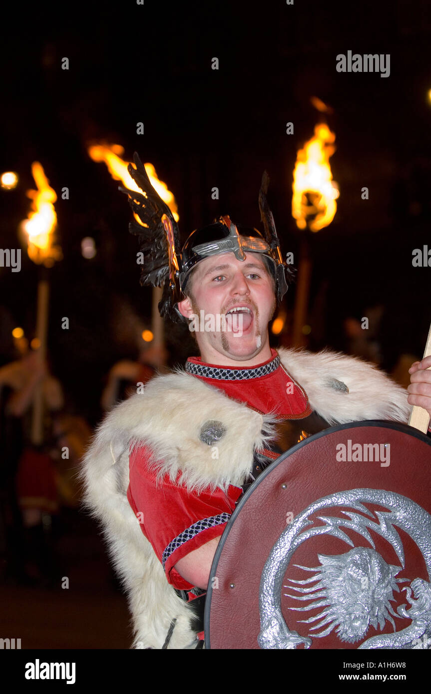 Man in costume at Up Helly-Aa, Shetland's annual fire festival Stock Photo