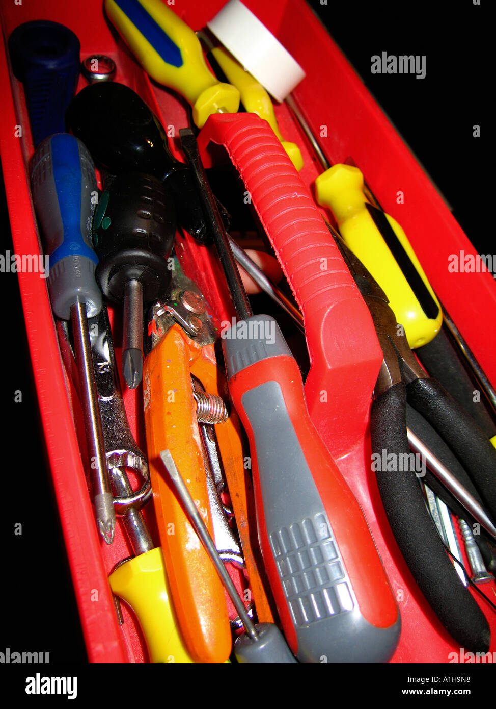 Domestic type DIY toolbox tray with tools Stock Photo