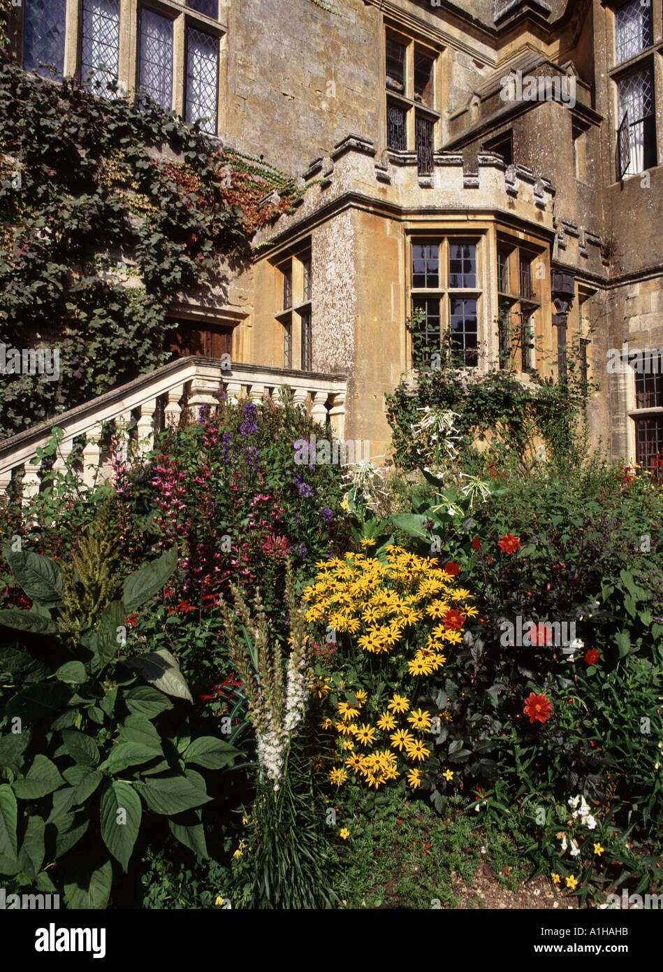 Stone steps beside a door way at Sudeley Castle with its fine ...