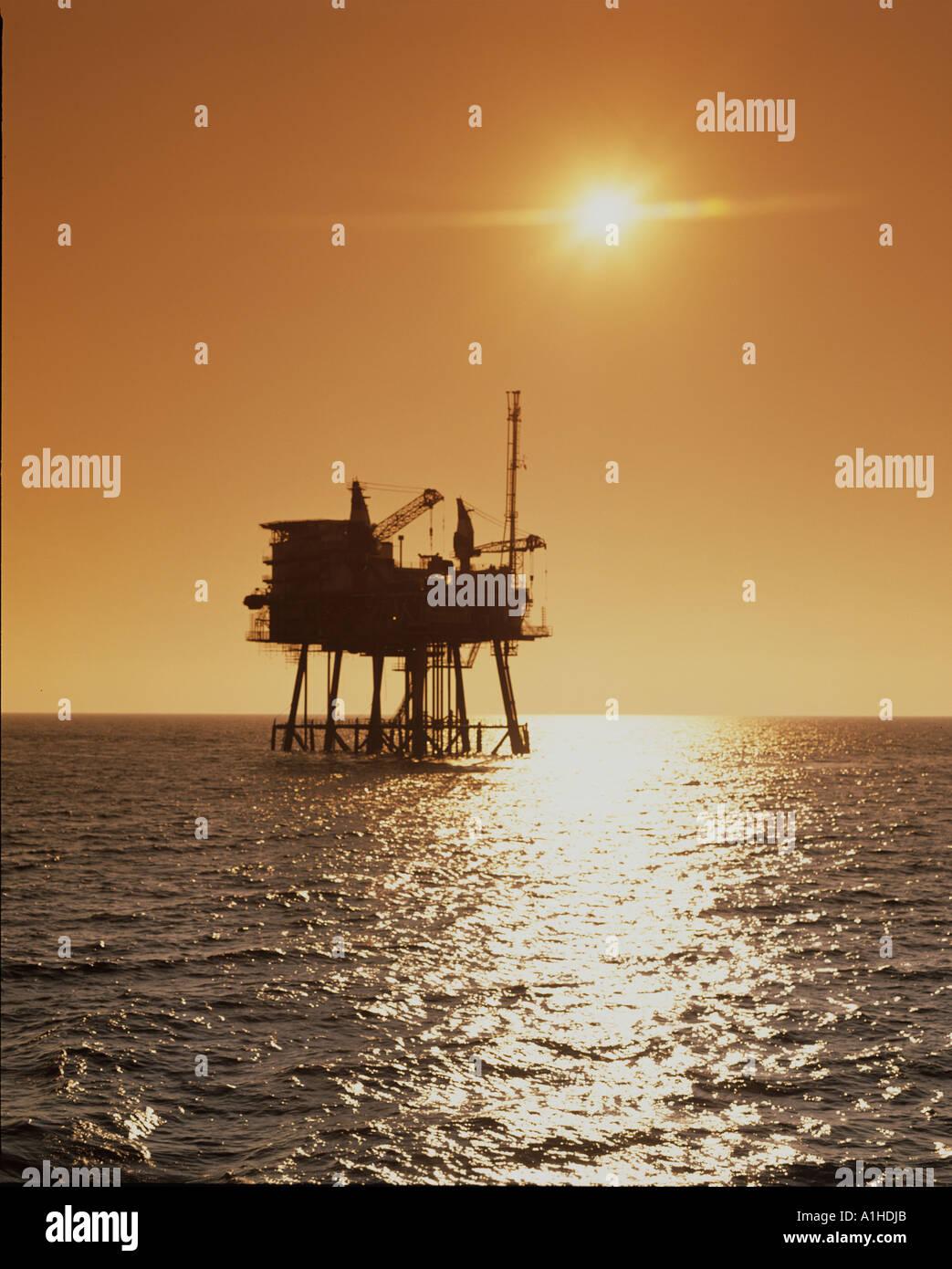 oil gas exploration platforms in the atlantic ocean Stock Photo