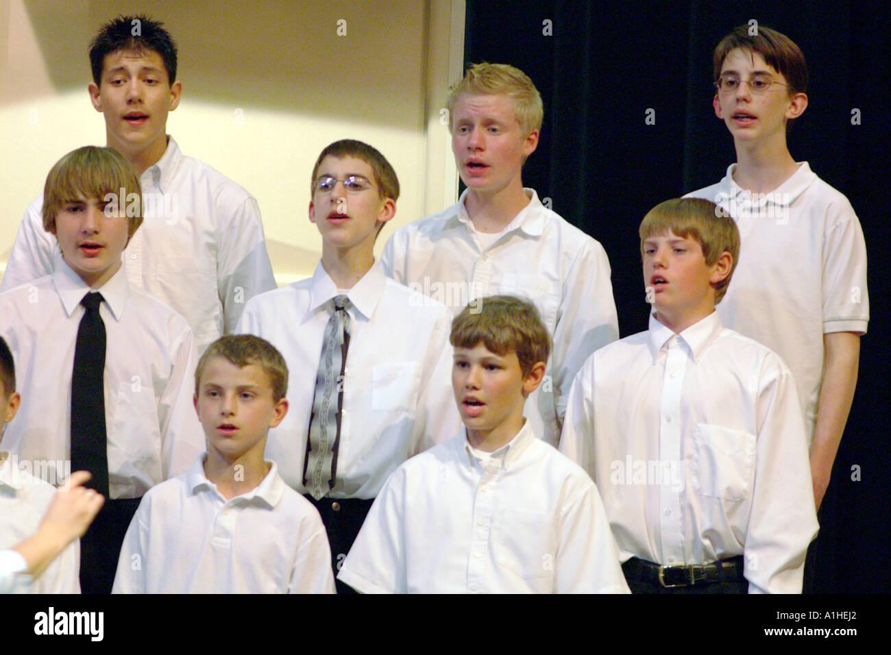 school choir boys performing - Stock Image