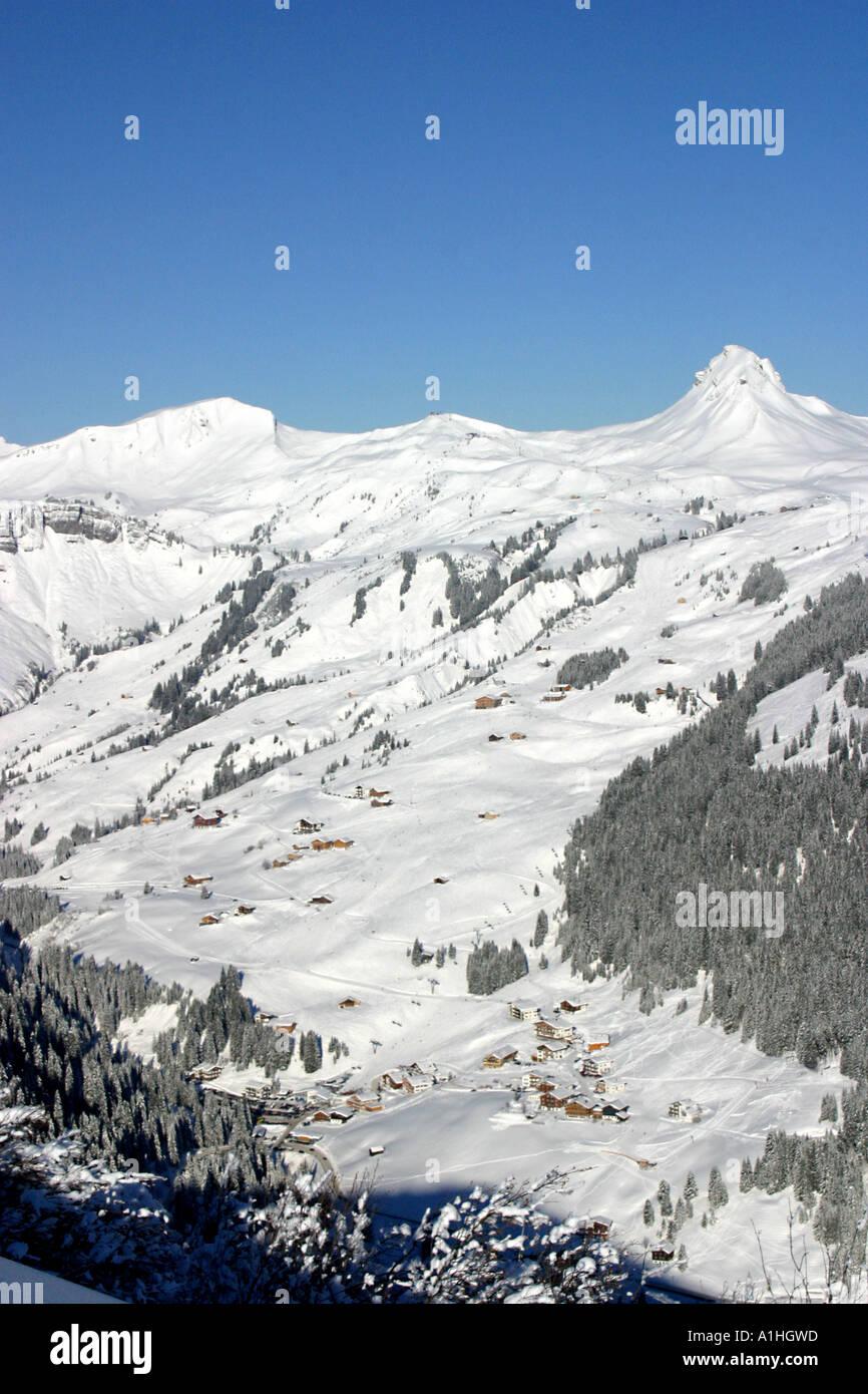 general view of damuls ski resort in austria taken from faschina