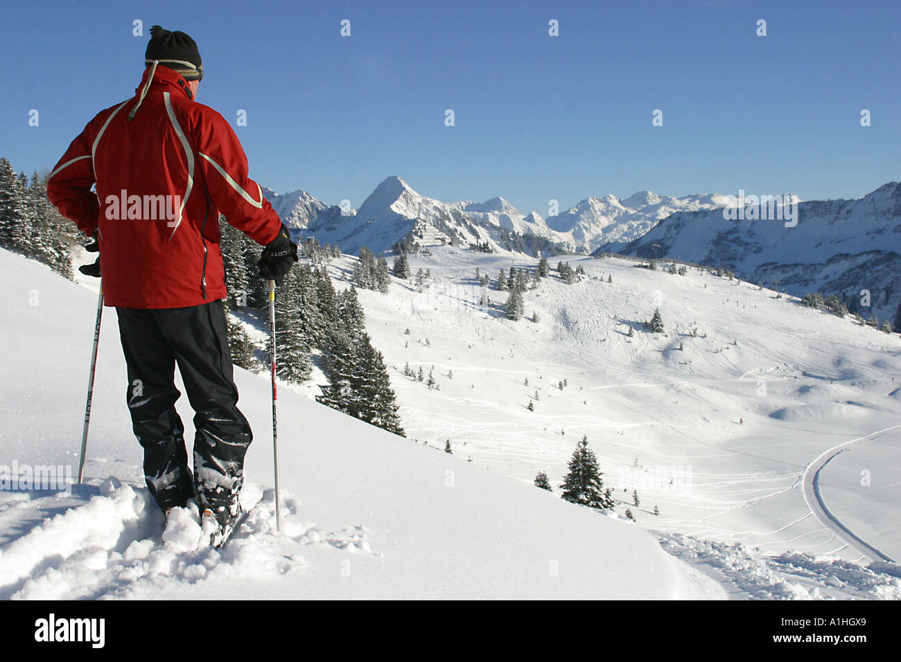 general view of damuls ski resort in austria on a beautiful january