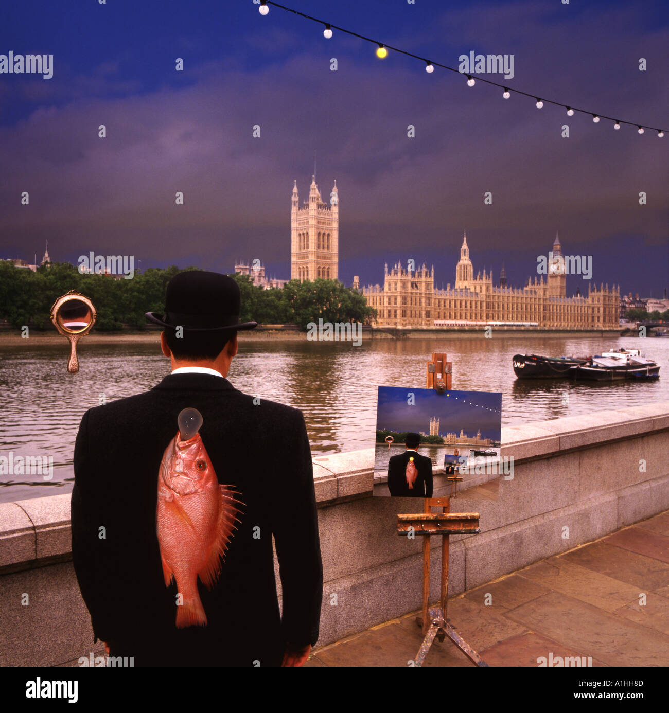 Tribute to Rene Magritte Houses of Parliament Surrealist - Stock Image