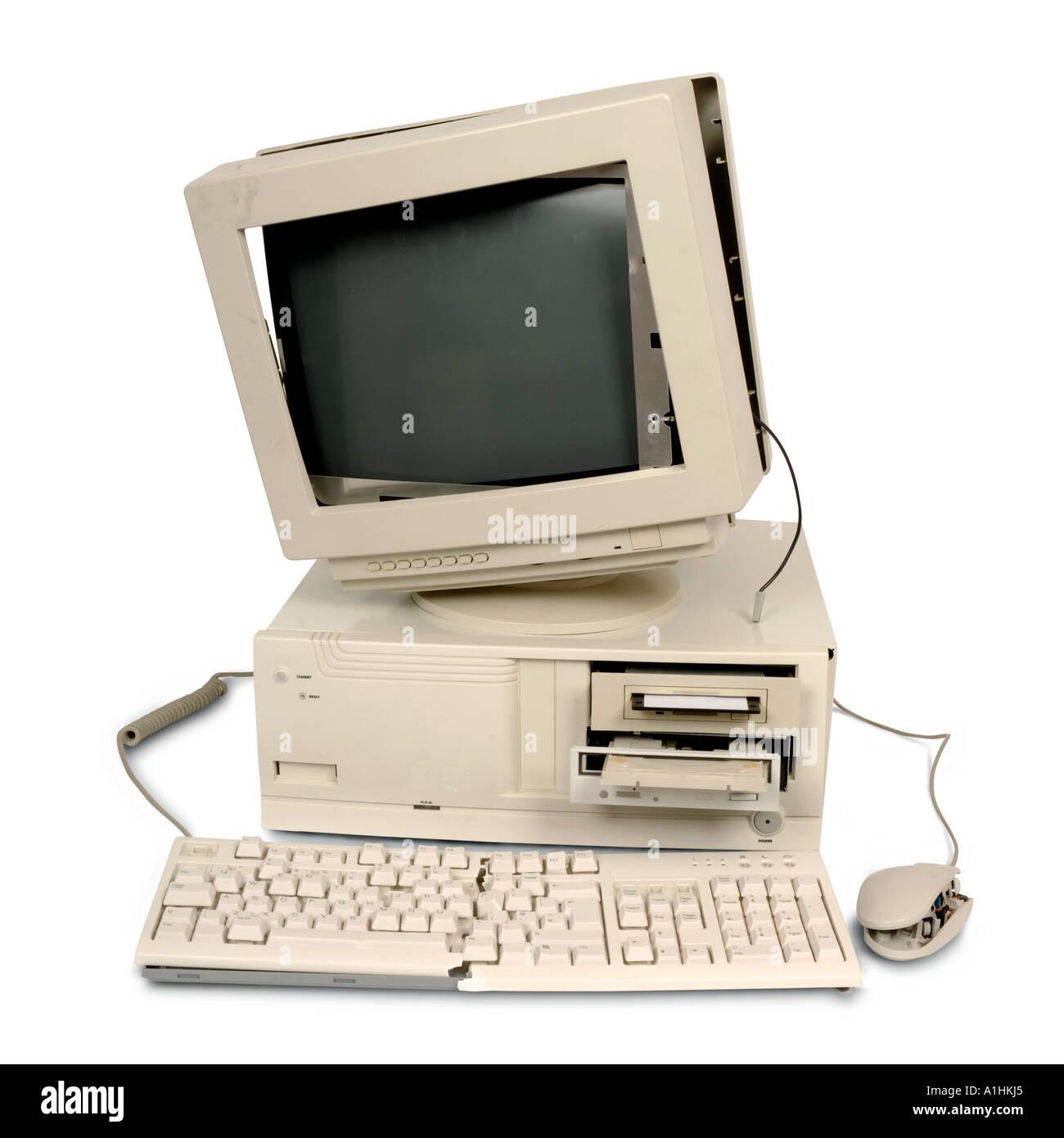 Old broken computer - Stock Image