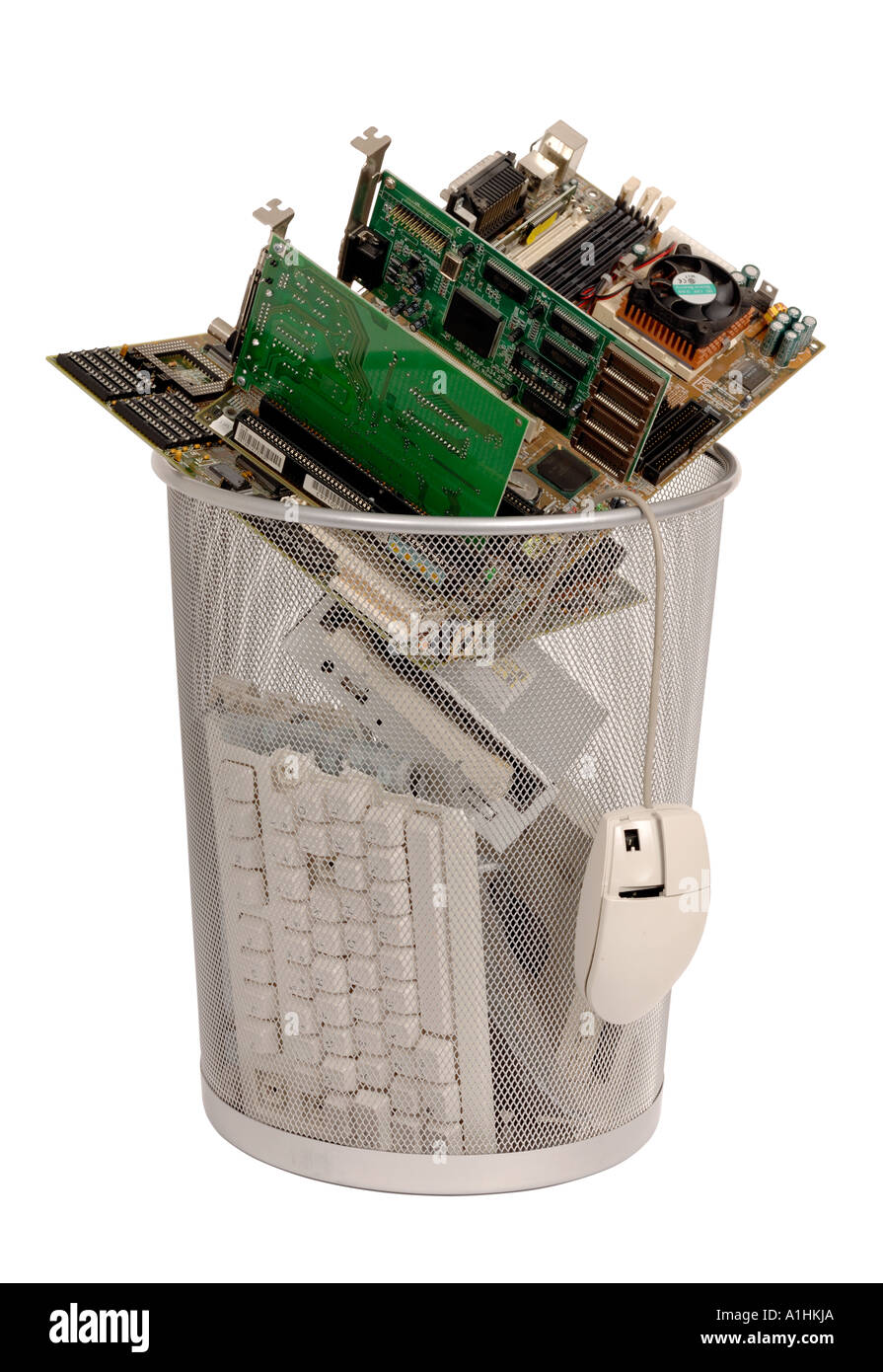 Bin full of old computer parts - Stock Image