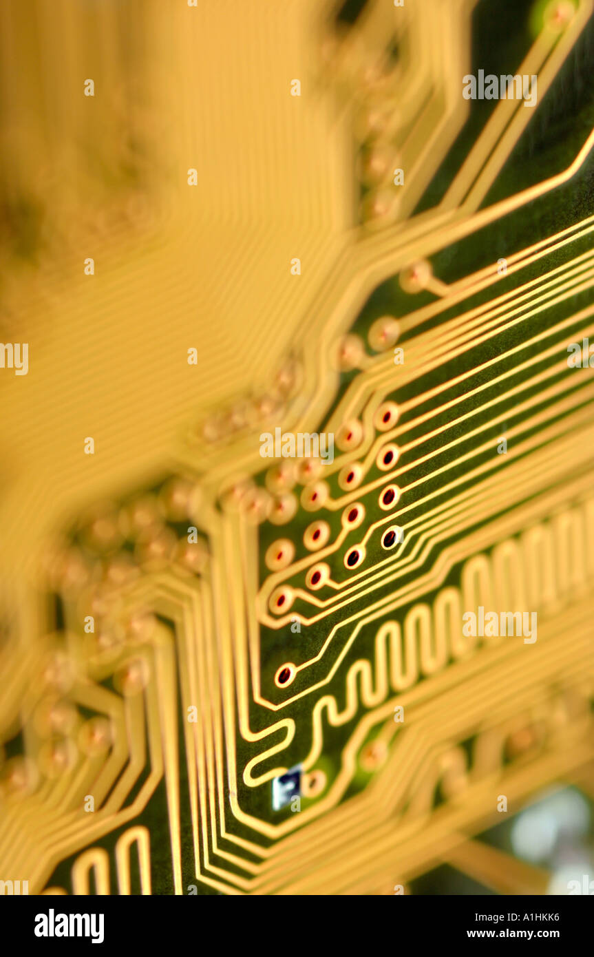 Abstract detail of computer circuit board - Stock Image