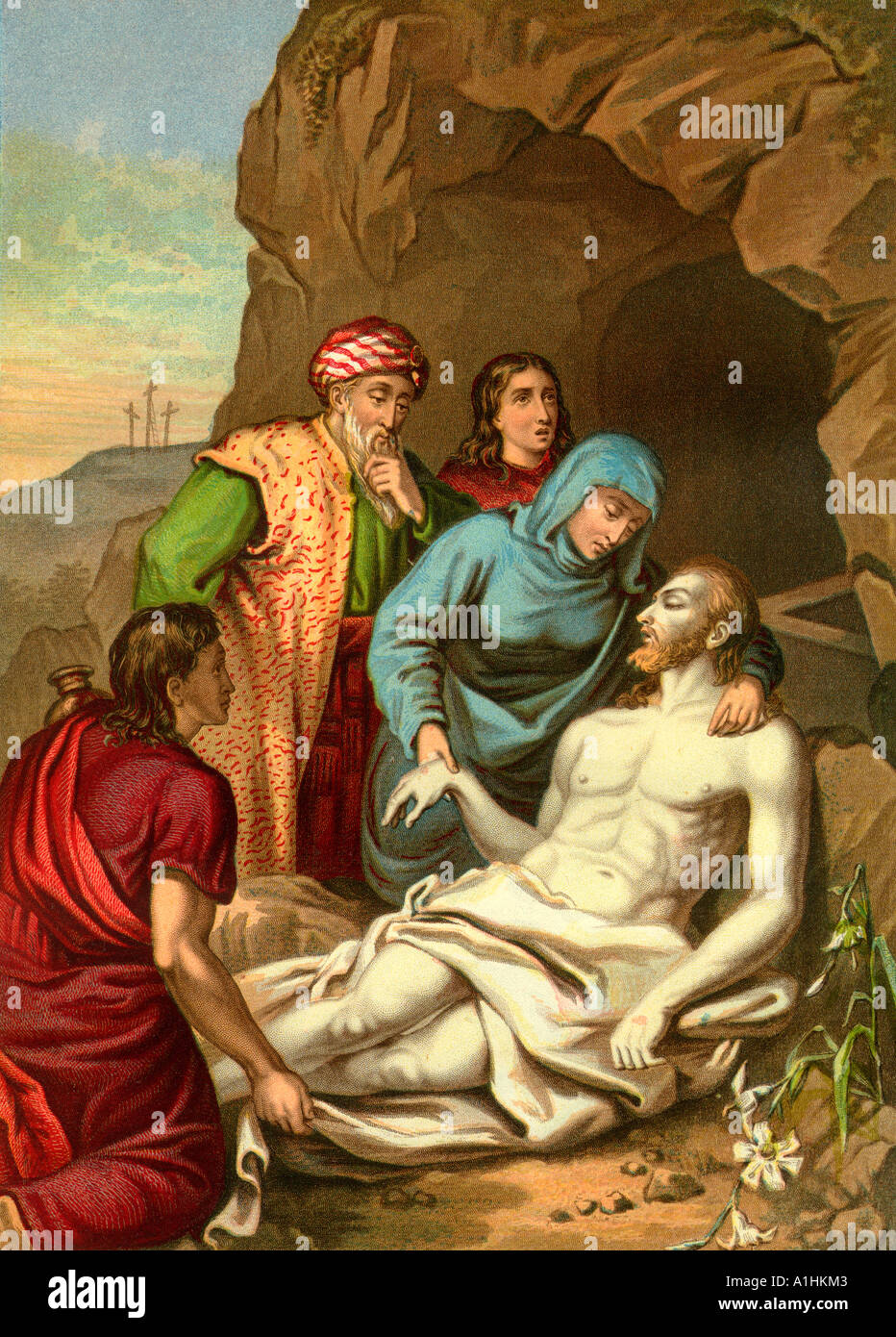 Christ s Entombment From an edition of John Browns Self Interpreting Bible first published in 1778 - Stock Image