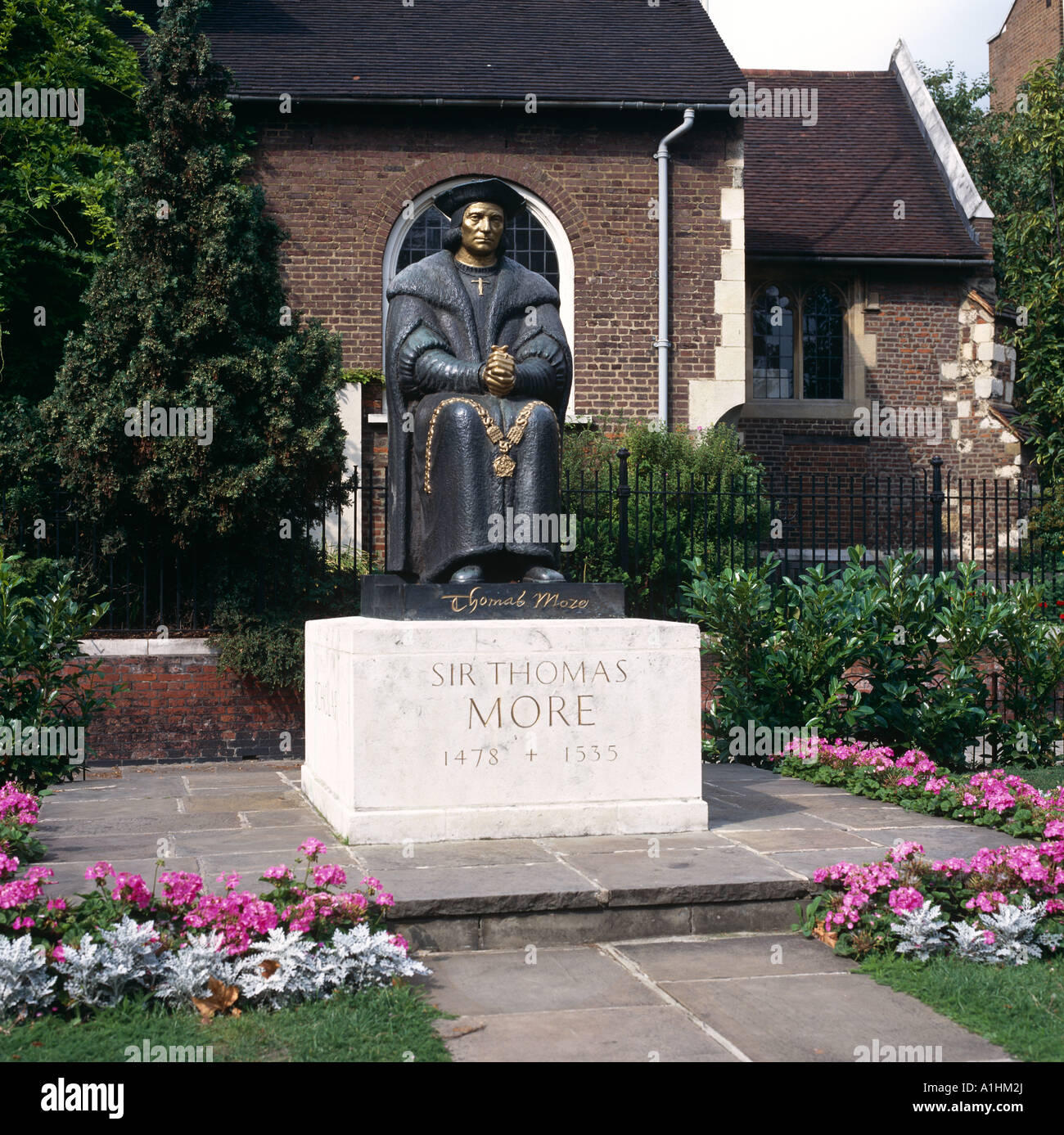 Statue Of Sir Thomas Moore Chelsea Embankment London UK Europe - Stock Image