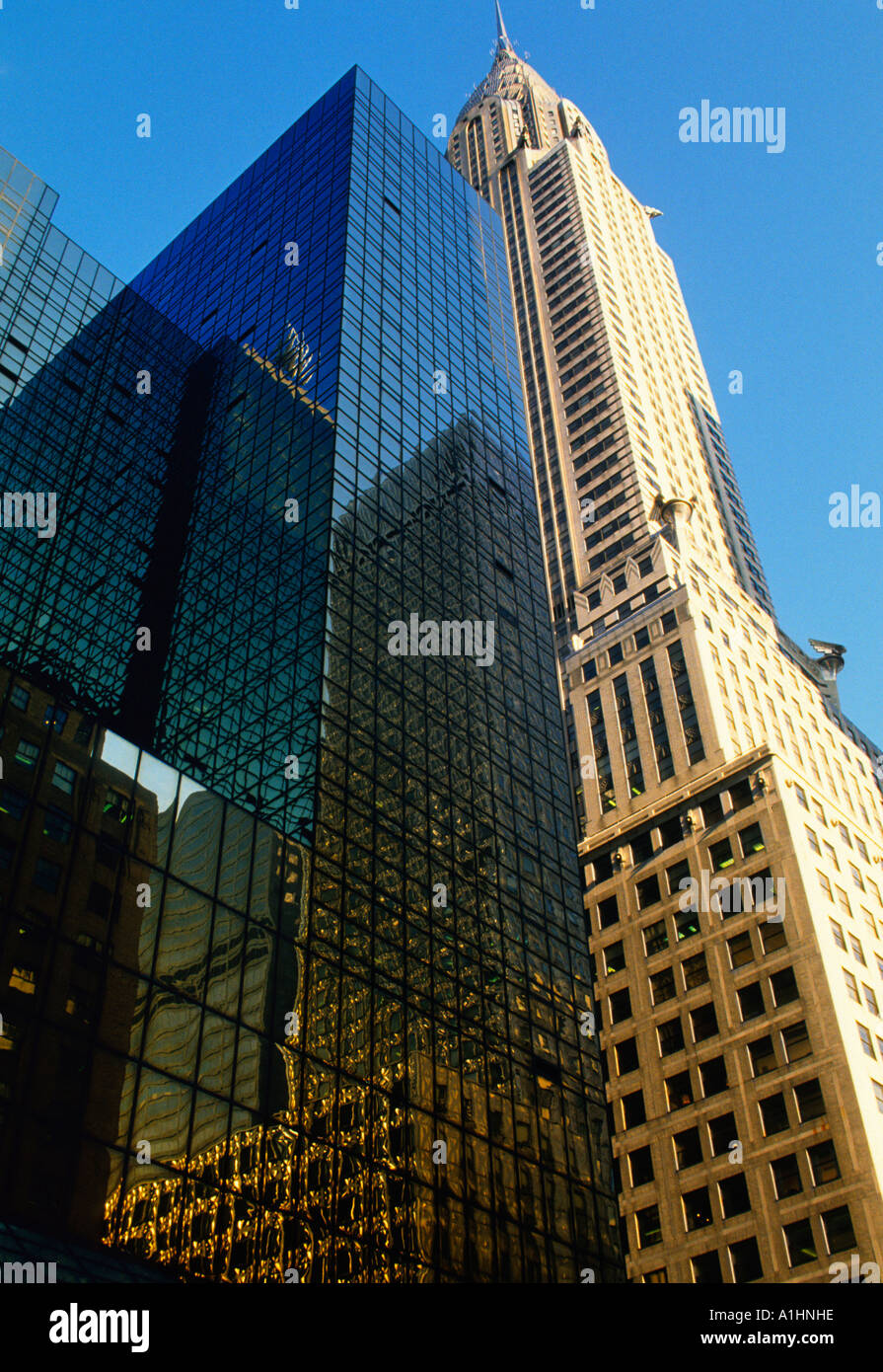 New York City Chrysler Building and The Hyatt Hotel Midtown Manhattan Hotel and Office Building USA - Stock Image