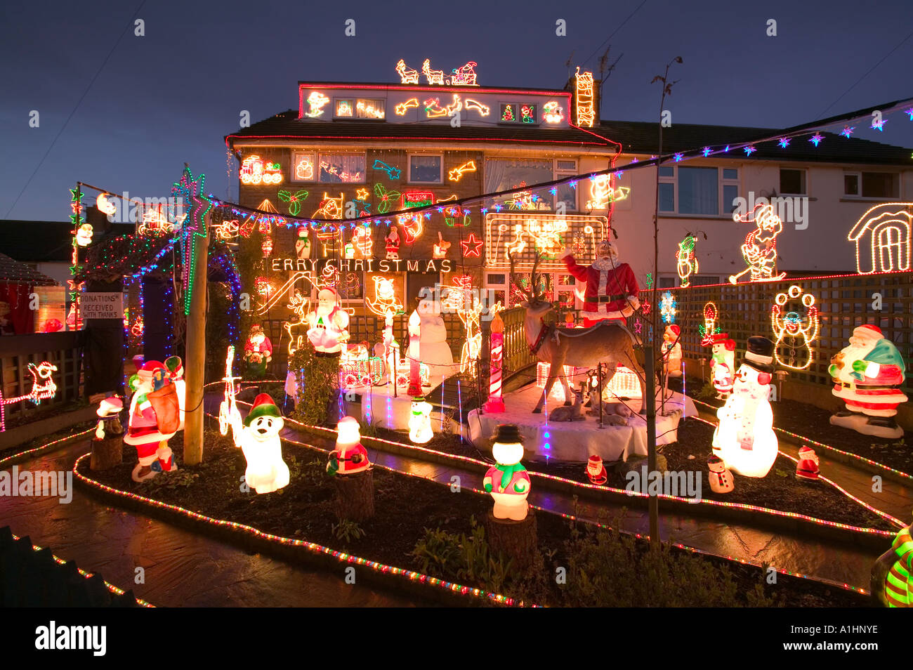 over the top christmas lights and decorations on a house in clitheroe lancashire uk - Best Christmas Decorations Uk