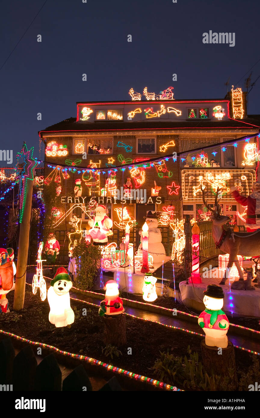 over the top christmas lights and decorations on a house in clitheroe lancashire uk - Over The Top Christmas Decorations
