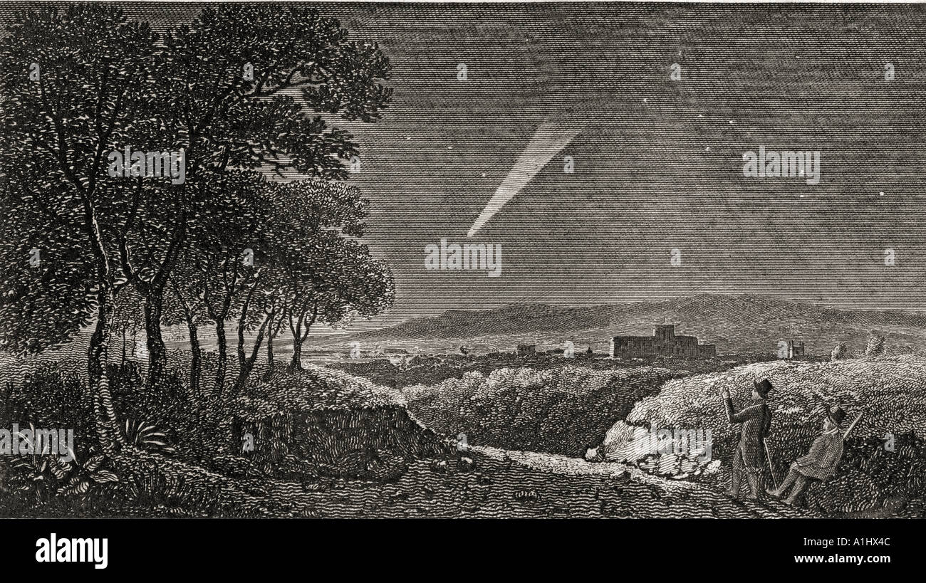 The Comet of 1811, as seen at daybreak the 15th October, from Otterbourne Hill near Winchester, England. - Stock Image