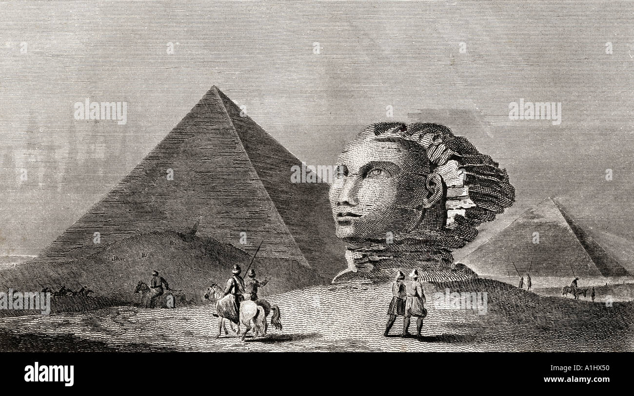 The first and second pyramid of Gizah, Ancient Memphis and head of the Colossal Sphinx, seen here in the early 19th century - Stock Image