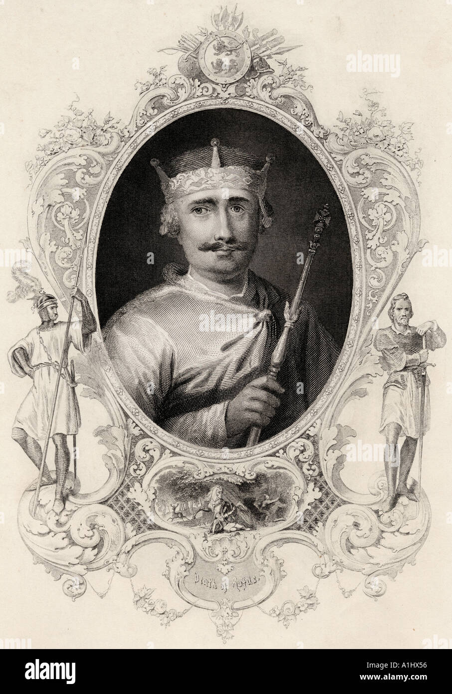 William II, Rufus the Red 1056 - 1100.  King of England.  From a 19th century print - Stock Image