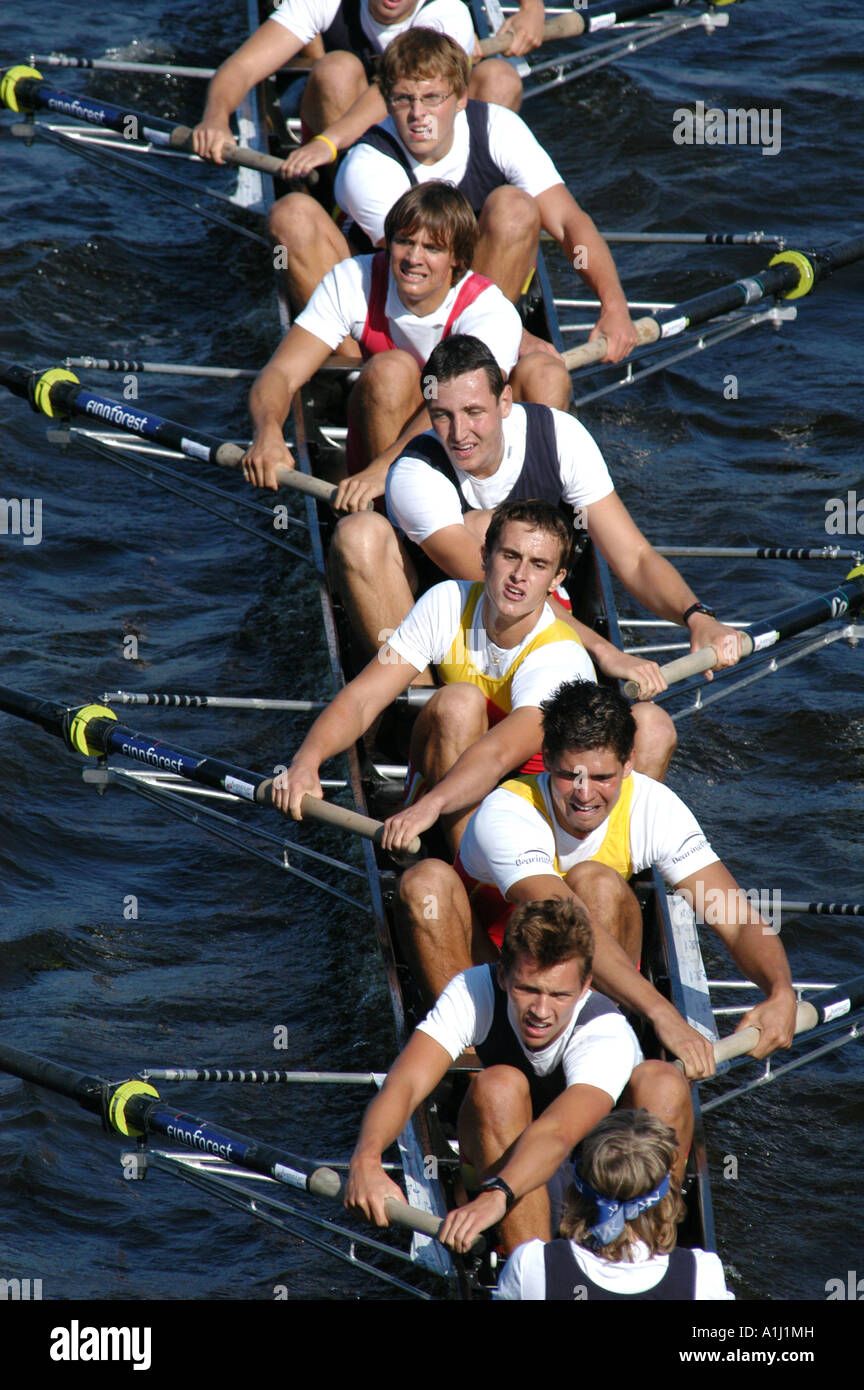 Junior rowing team rowing ahead during a boat race on the River Vltava in Prague, Czech Republic, on September 24, - Stock Image