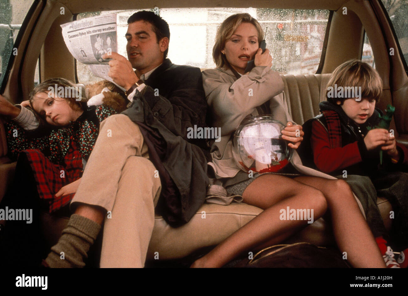 One Fine Day Year 1996 Director Michael Hoffman Michelle Pfeiffer Alex D Linz George Clooney Mae Whitman Stock Photo