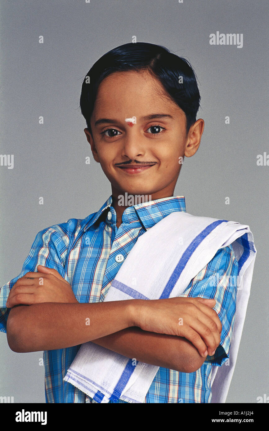 feb30f9845 VDA76049 Young South Indian Boy Dressed As An Adult With False Moustache In  Traditional Costume Model Sc 1 St Alamy