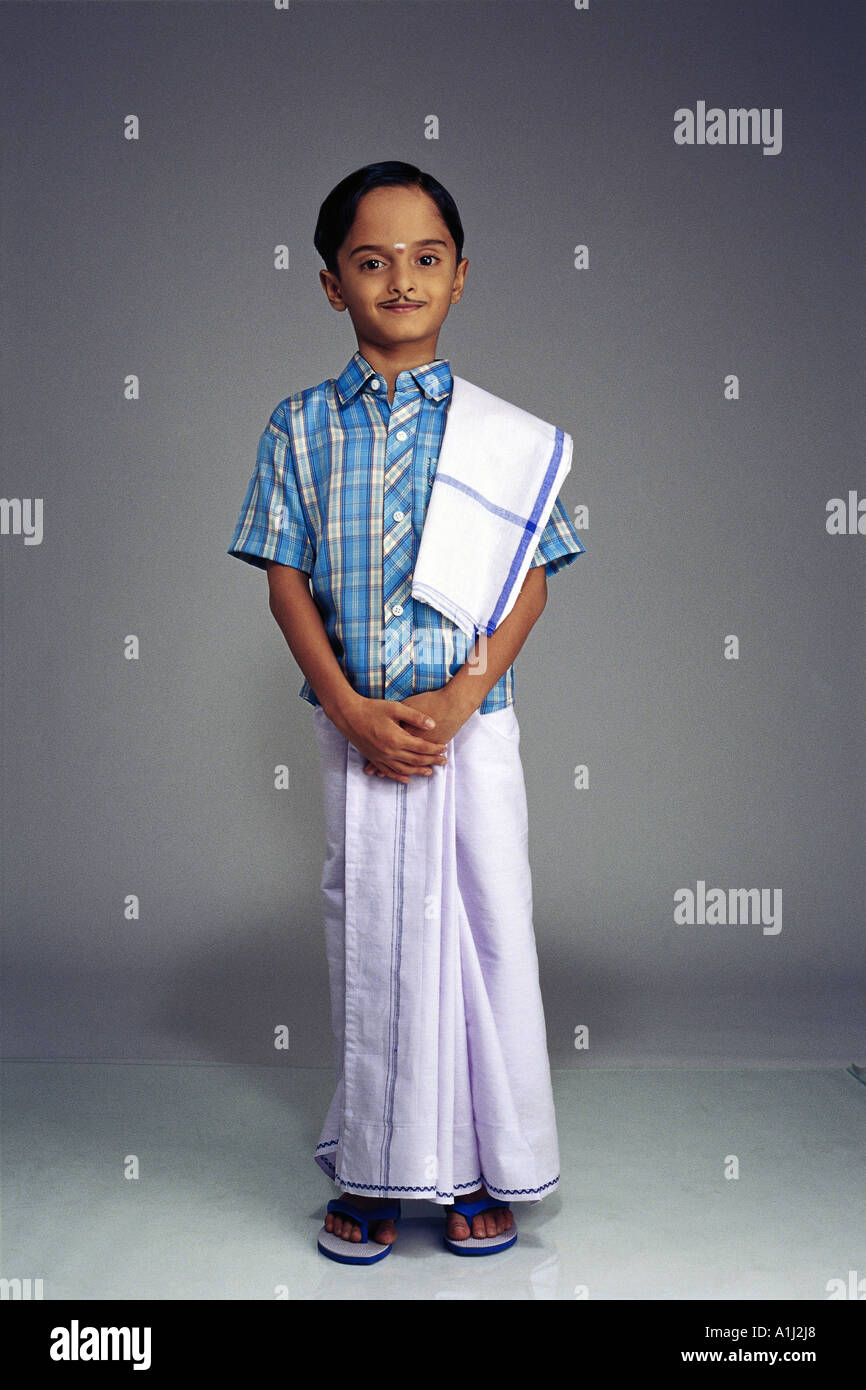 VDA76050 South Indian Boy dressed in traditional costume wearing a false moustache Model Release Number 502  sc 1 st  Alamy & South Indian Boy Fancy Dress Stock Photos u0026 South Indian Boy Fancy ...