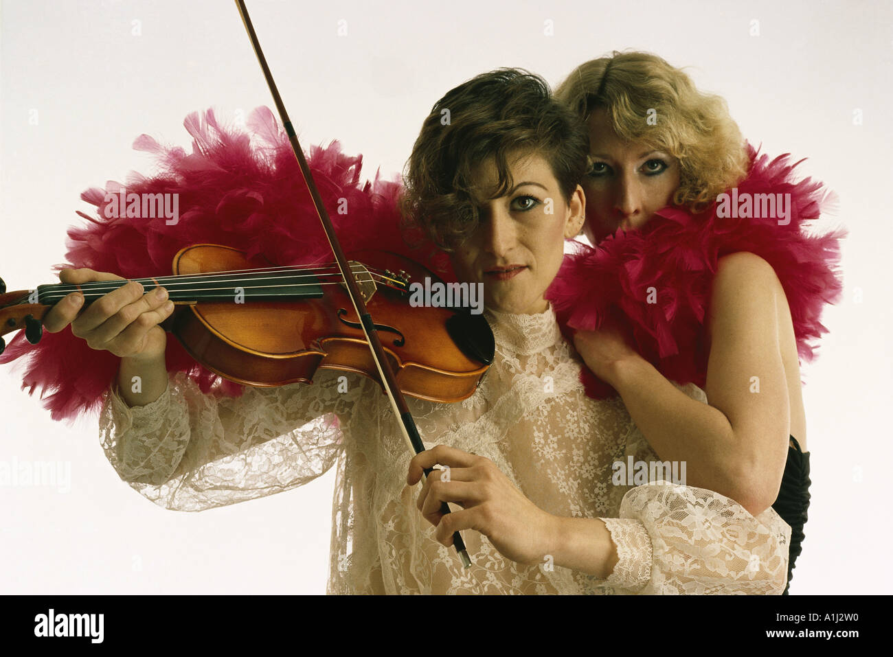VDA76013 Two Dancers one playing musical instrument violin MR Number 483 and 486 - Stock Image
