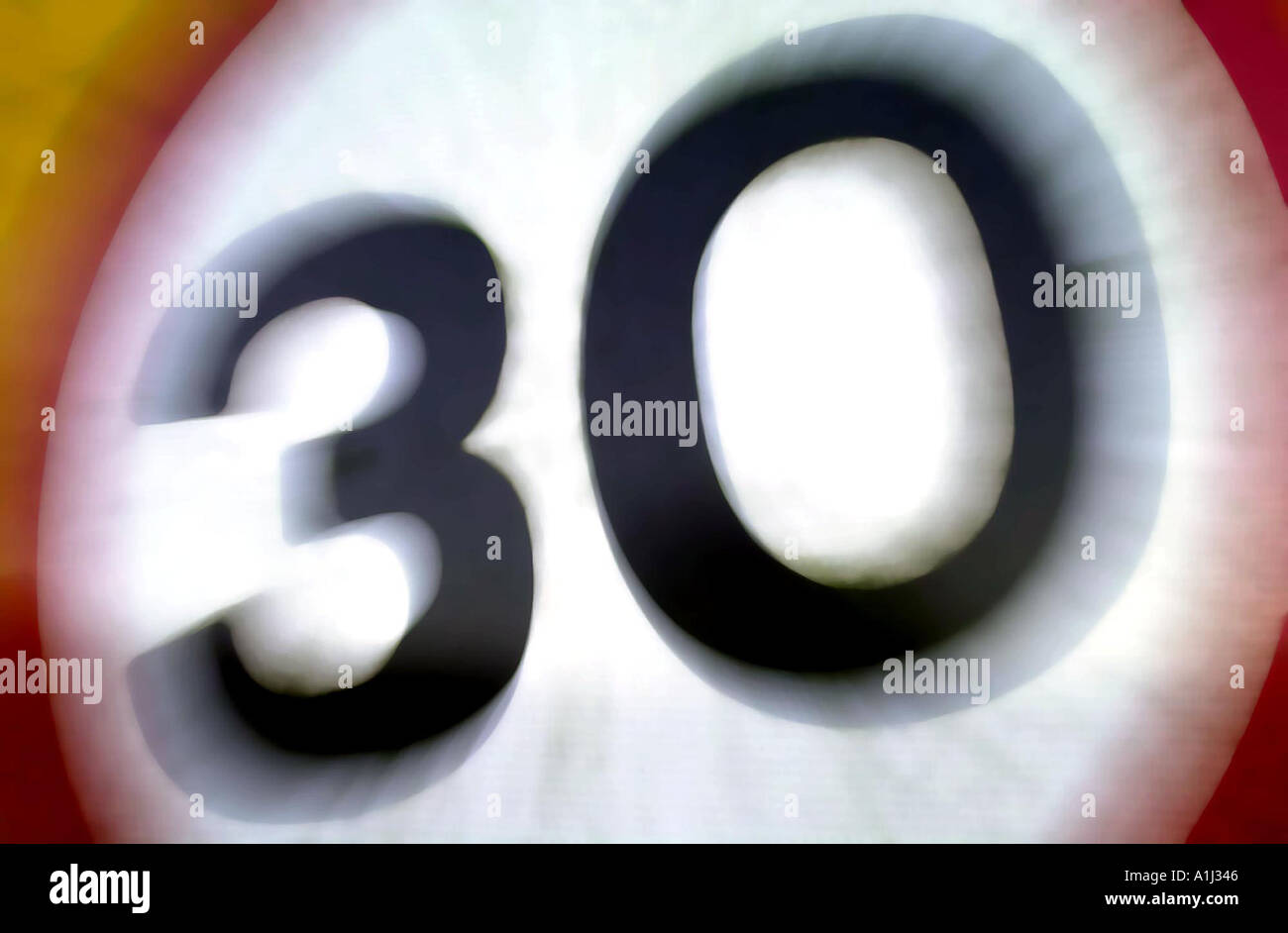 30 MPH SPEED LIMIT SIGN UK - Stock Image