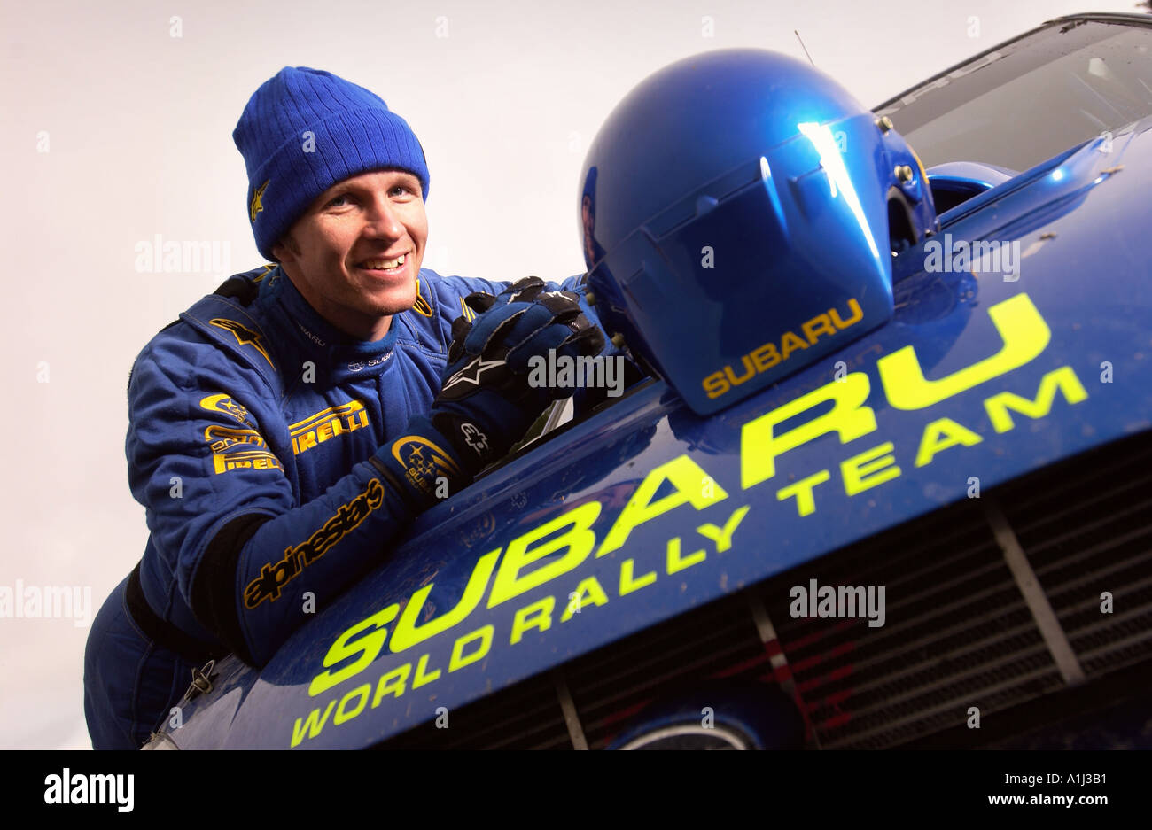 SUBARU RALLY DRIVER PETTER SOLBERG DURING TESTING IN WALES BEFORE THE RALLY OF BRITAIN - Stock Image