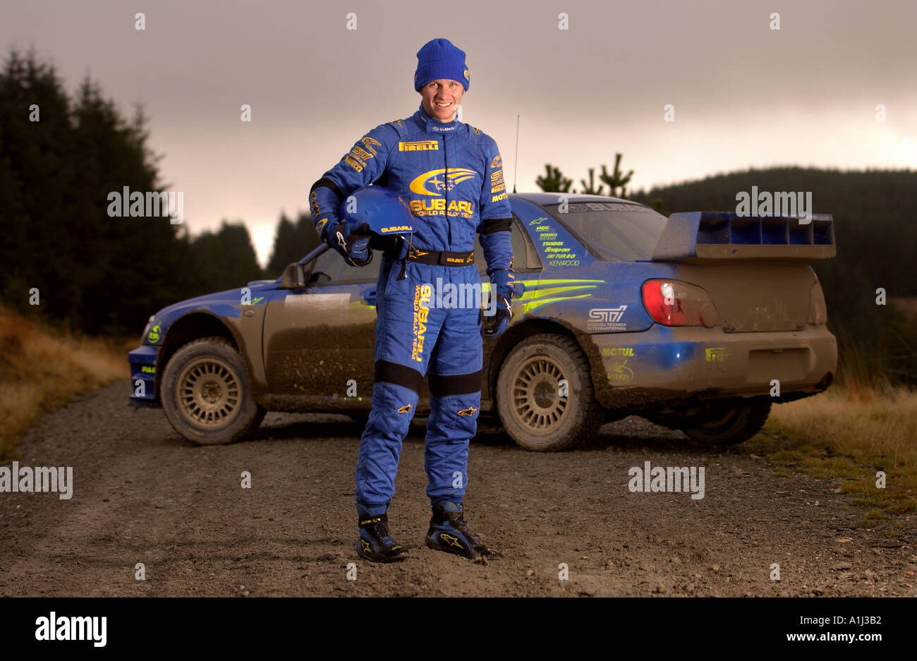 SUBARU RALLY DRIVER PETTER SOLBERG DURING TESTING IN WALES BEFORE THE RALLY OF BRITAIN UK - Stock Image