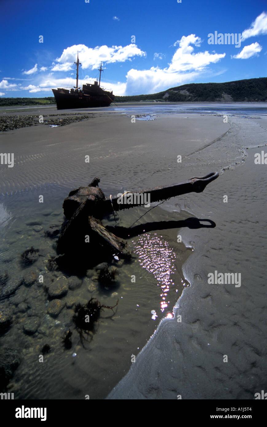 Desdemona Cargo Shipwreck in Cabo San Pablo, Tierra del Fuego, Argentina - Stock Image
