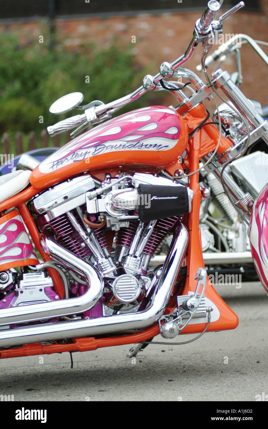 harley davidson custom motor cycle bike v twin american america chopper customised modified - Stock Image