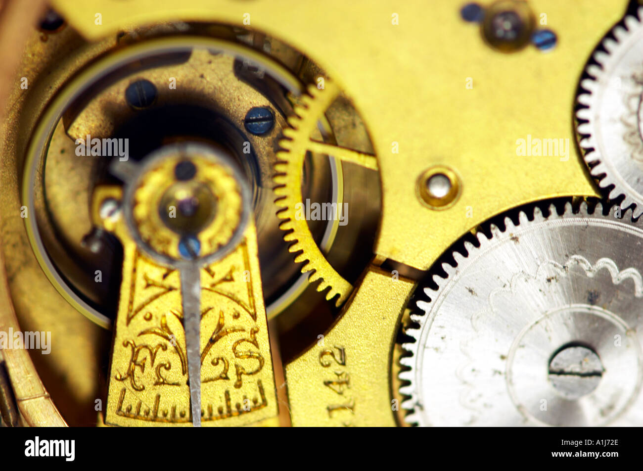 Close up detail of an old pocket watch - Stock Image