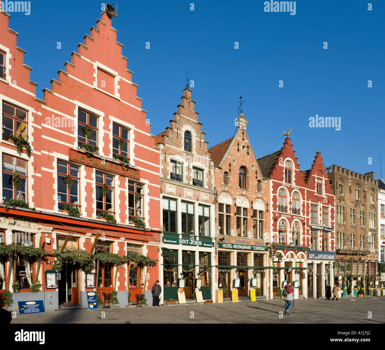 Main Square (Markt) in winter, Bruges, Belgium - Stock Image