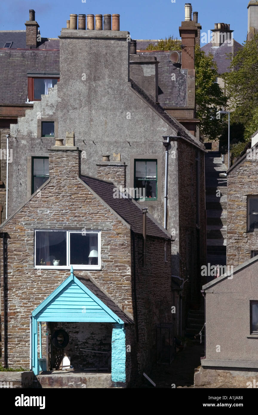 Seafront homes in Stromness harbour in Mainland Orkney in Scotland UK Stock Photo