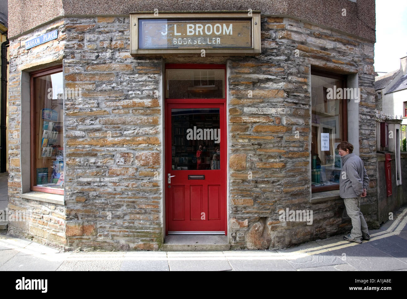 A local window shops at a bookshop in Stromness on Mainland Orkney in Scotland UK Stock Photo