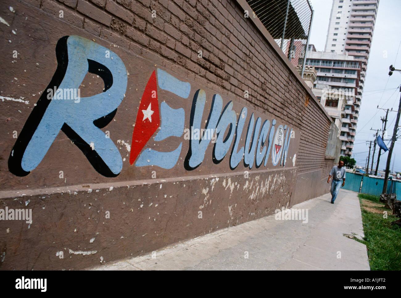 Havana Cuba Revolutionary slogan painted on wall - Stock Image