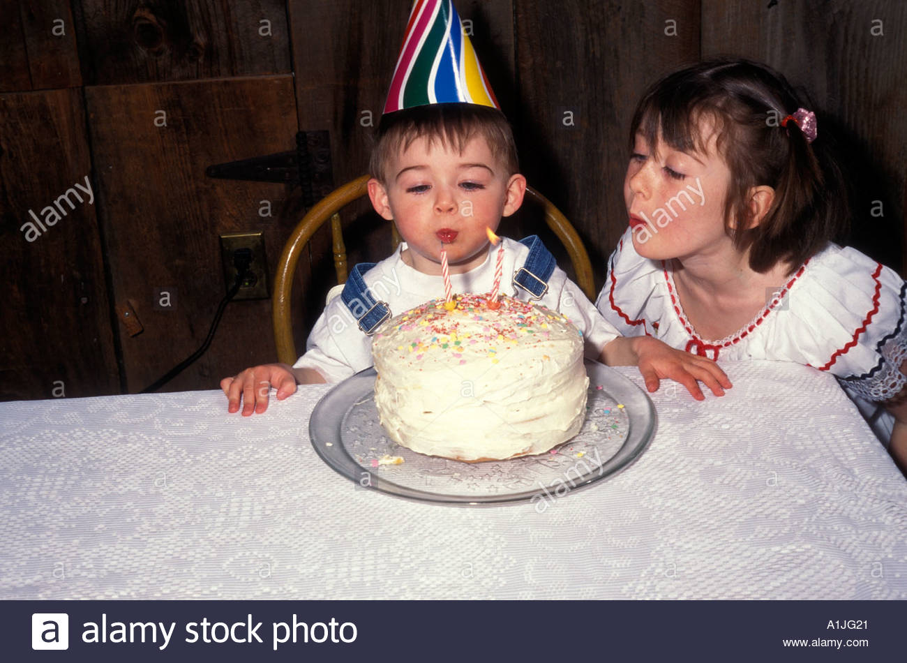 Brother And Sister With Birthday Cake Second Stock Photo 3352608