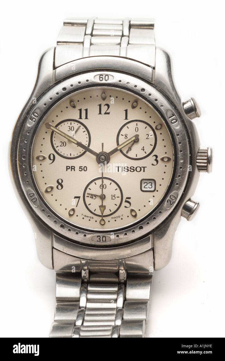 Tissot chronograph wrist watch time piece titanium sapphire hour minute second date day luminous hand finger elapsed bezel steel - Stock Image